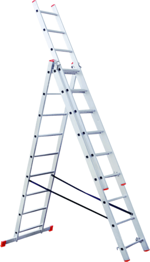 Combination ladder in three sections
