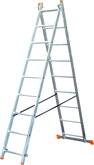 Combination ladder in two section